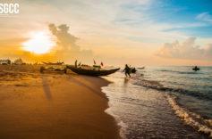 Dawn with fishermen on the Ho Tram beach